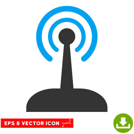 game drive: Radio Control Joystick EPS vector pictograph. Illustration style is flat iconic bicolor blue and gray symbol on white background.