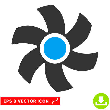 rotor: Rotor EPS vector pictograph. Illustration style is flat iconic bicolor blue and gray symbol on white background.