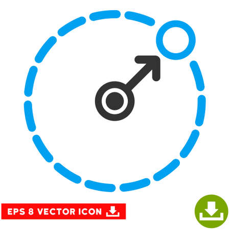 perimeter: Round Area Border EPS vector pictogram. Illustration style is flat iconic bicolor blue and gray symbol on white background. Illustration