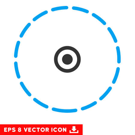zonal: Round Area EPS vector pictogram. Illustration style is flat iconic bicolor blue and gray symbol on white background.