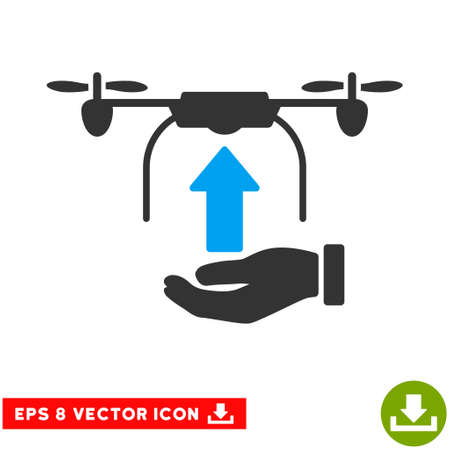 blue send: Send Drone Hand EPS vector pictogram. Illustration style is flat iconic bicolor blue and gray symbol on white background.