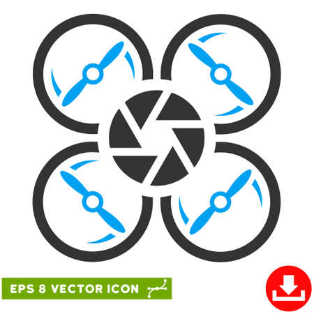 Shutter Drone EPS vector pictograph. Illustration style is flat iconic bicolor blue and gray symbol on white background. Illustration