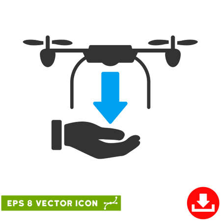 drop down: Unload Drone Hand EPS vector icon. Illustration style is flat iconic bicolor blue and gray symbol on white background. Illustration