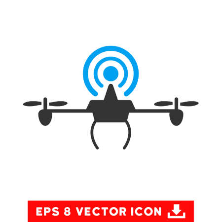 Wifi Repeater Drone EPS vector icon. Illustration style is flat iconic bicolor blue and gray symbol on white background. Illustration