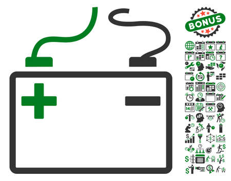 configure: Accumulator icon with bonus calendar and time service graphic icons. Vector illustration style is flat iconic symbols, green and gray colors, white background.