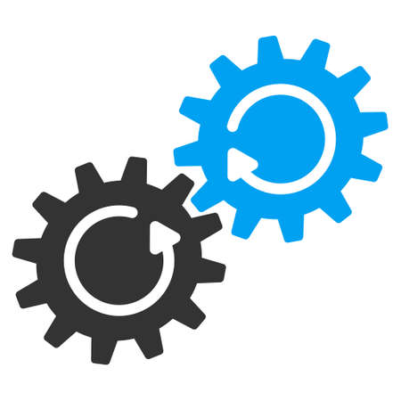 gear box: Gear Mechanism Rotation vector icon. Style is flat graphic bicolor symbol, blue and gray colors, white background. Illustration