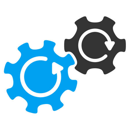 gear box: Gears Rotation vector icon. Style is flat graphic bicolor symbol, blue and gray colors, white background.