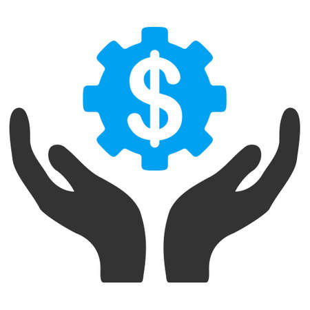 Maintenance Price vector icon. Style is flat graphic bicolor symbol, blue and gray colors, white background. Illustration