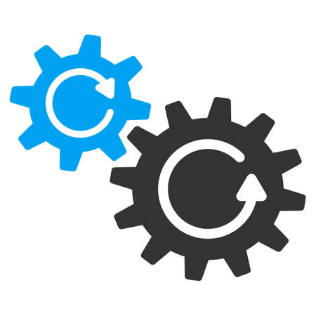 Cogs Rotation vector pictograph. Style is flat graphic bicolor symbol, blue and gray colors, white background. 矢量图像