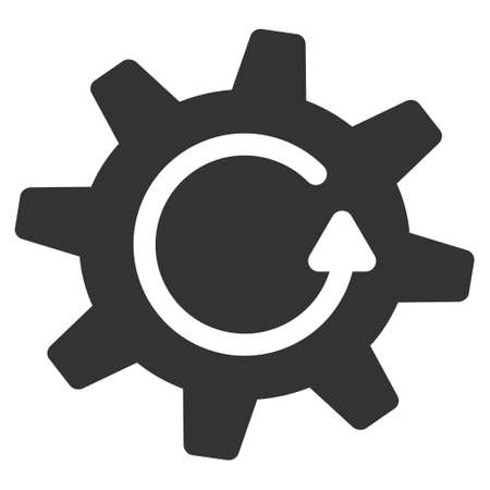 Cogwheel Rotation Direction vector icon. Style is flat graphic symbol, gray color, white background.