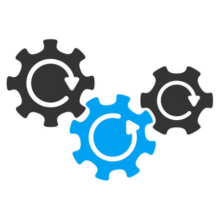industrial complex: Transmission Gears Rotation vector pictogram. Style is flat graphic bicolor symbol, blue and gray colors, white background.