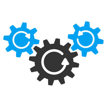 gear box: Transmission Wheels Rotation vector icon. Style is flat graphic bicolor symbol, blue and gray colors, white background.