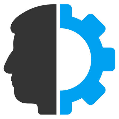 work worker: Android Head vector icon. Style is flat graphic bicolor symbol, blue and gray colors, white background.