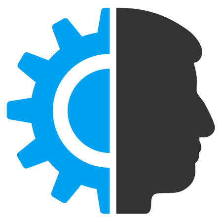 robotics: Android Robotics vector pictograph. Style is flat graphic bicolor symbol, blue and gray colors, white background.