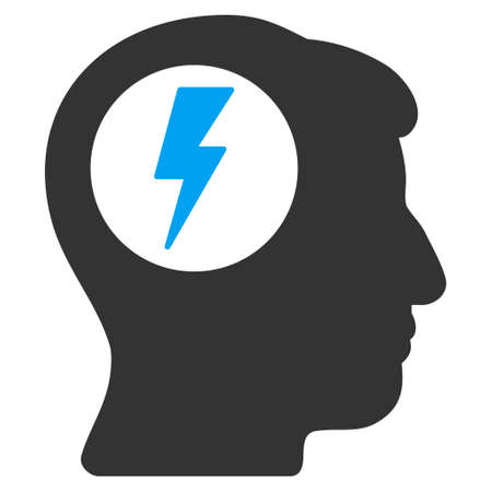 descarga electrica: Brain Electric Shock vector icon. Style is flat graphic bicolor symbol, blue and gray colors, white background. Vectores