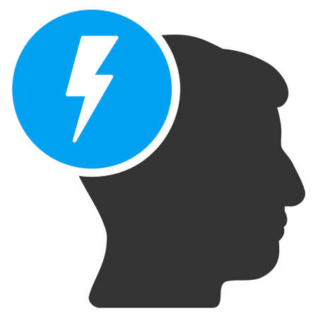 ruch: Brain Electricity vector pictogram. Style is flat graphic bicolor symbol, blue and gray colors, white background. Illustration