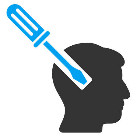 endoscopy: Head Screwdriver Tuning vector icon. Style is flat graphic bicolor symbol, blue and gray colors, white background.
