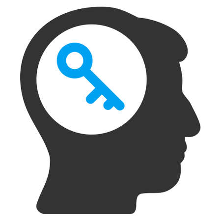 registry: Brain Key vector icon. Style is flat graphic bicolor symbol, blue and gray colors, white background. Illustration