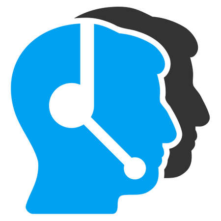 operators: Call Center Operators vector pictogram. Style is flat graphic bicolor symbol, blue and gray colors, white background.