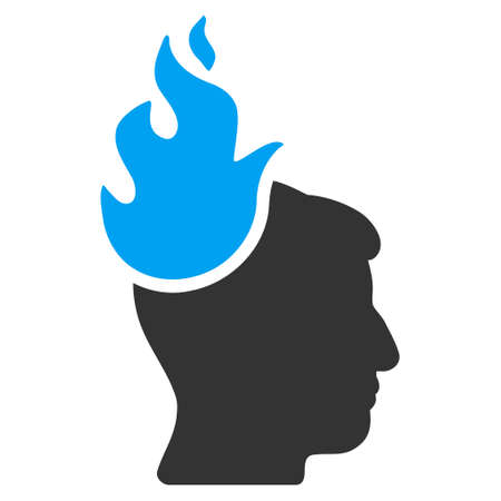 ruch: Fired Head vector pictogram. Style is flat graphic bicolor symbol, blue and gray colors, white background.