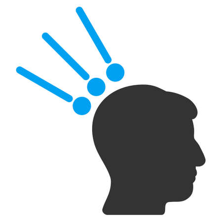 Head Test Connectors vector pictograph. Style is flat graphic bicolor symbol, blue and gray colors, white background.