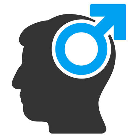 potency: Intellect Potency vector pictogram. Style is flat graphic bicolor symbol, blue and gray colors, white background.