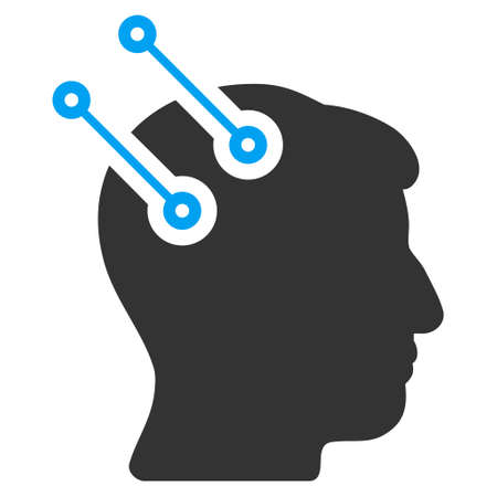 cranial: Neural Interface Connectors vector icon. Style is flat graphic bicolor symbol, blue and gray colors, white background.