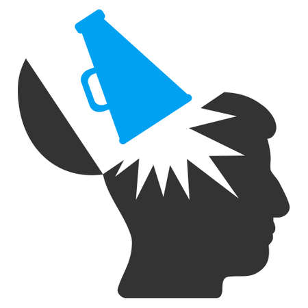 Open Brain Megaphone vector pictograph. Style is flat graphic bicolor symbol, blue and gray colors, white background.