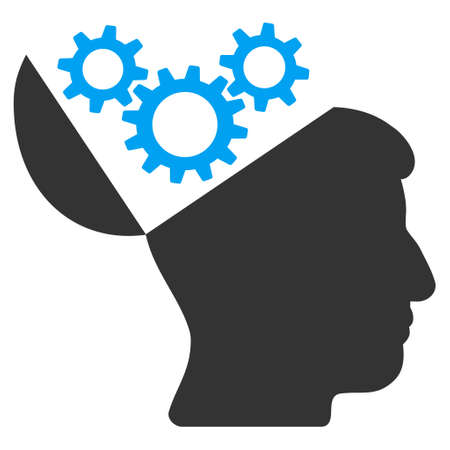 open mind: Open Mind Gears vector icon. Style is flat graphic bicolor symbol, blue and gray colors, white background.