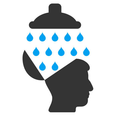 Open Brain Shower vector icon. Style is flat graphic bicolor symbol, blue and gray colors, white background.