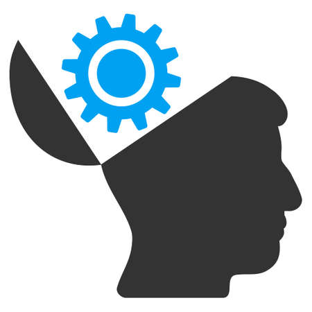 sculp: Open Head Gear vector pictogram. Style is flat graphic bicolor symbol, blue and gray colors, white background.