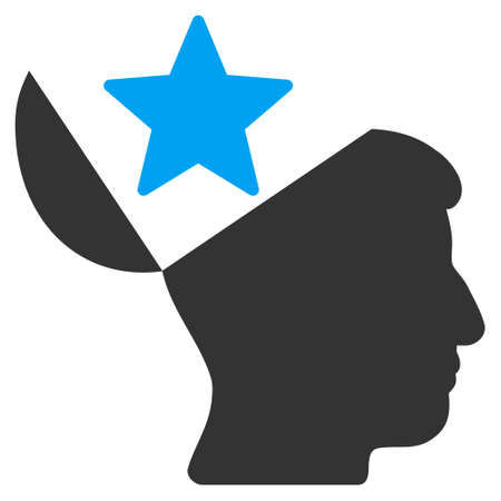open minded: Open Head Star vector pictogram. Style is flat graphic bicolor symbol, blue and gray colors, white background.