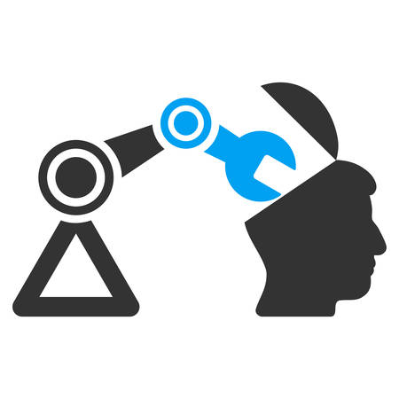 sculp: Open Head Surgery Manipulator vector icon. Style is flat graphic bicolor symbol, blue and gray colors, white background.