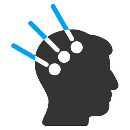 neural: Neural Interface vector pictogram. Style is flat graphic bicolor symbol, blue and gray colors, white background. Illustration