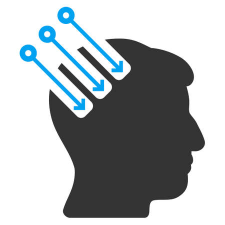 plugin: Neuro Interface vector icon. Style is flat graphic bicolor symbol, blue and gray colors, white background. Illustration