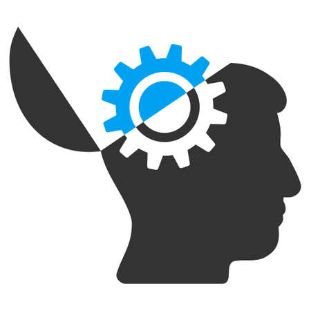 open mind: Open Mind Gear vector icon. Style is flat graphic bicolor symbol, blue and gray colors, white background.