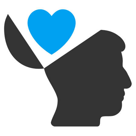 open mind: Open Mind Love Heart vector pictograph. Style is flat graphic bicolor symbol, blue and gray colors, white background. Illustration
