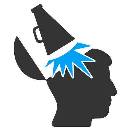 open mind: Open Mind Megaphone vector pictogram. Style is flat graphic bicolor symbol, blue and gray colors, white background. Illustration