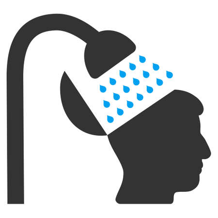 open mind: Open Mind Shower vector pictograph. Style is flat graphic bicolor symbol, blue and gray colors, white background.