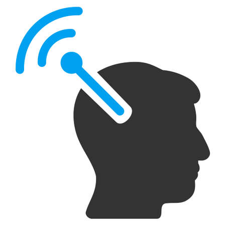 neural: Radio Neural Interface vector pictogram. Style is flat graphic bicolor symbol, blue and gray colors, white background.