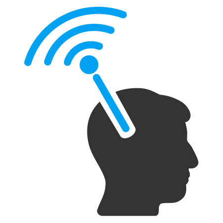 neural: Radio Neural Interface vector pictograph. Style is flat graphic bicolor symbol, blue and gray colors, white background.