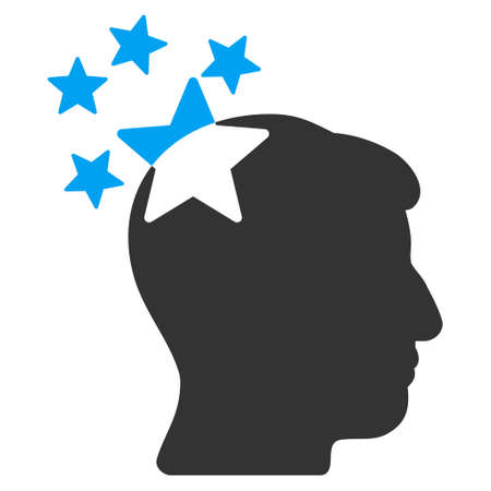 ruch: Stars Hit Head vector icon. Style is flat graphic bicolor symbol, blue and gray colors, white background.