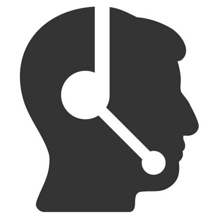 talker: Call Center Operator vector pictogram. Style is flat graphic symbol, gray color, white background.