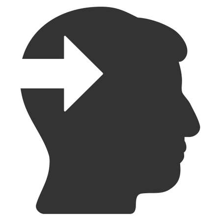 plugin: Head Plug-In Arrow vector pictogram. Style is flat graphic symbol, gray color, white background.