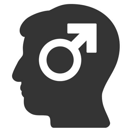 potency: Mind Potency vector icon. Style is flat graphic symbol, gray color, white background. Illustration
