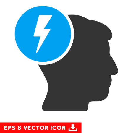 ruch: Brain Electricity EPS vector pictograph. Illustration style is flat iconic bicolor blue and gray symbol on white background.