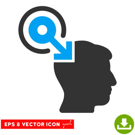 plugin: Brain Interface Plug-In EPS vector pictogram. Illustration style is flat iconic bicolor blue and gray symbol on white background. Illustration