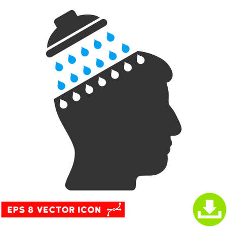 Brain Shower EPS vector pictograph. Illustration style is flat iconic bicolor blue and gray symbol on white background.