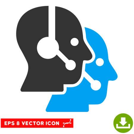 Call Center Operators EPS vector pictograph. El estilo de la ilustración es plano icónico bicolor símbolo azul y gris sobre fondo blanco.