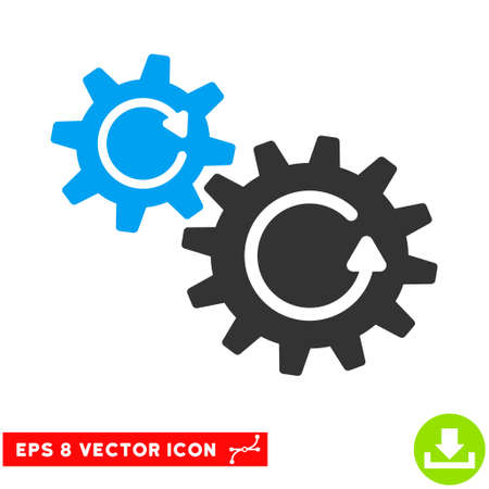 gear box: Cogs Rotation EPS vector pictogram. Illustration style is flat iconic bicolor blue and gray symbol on white background.